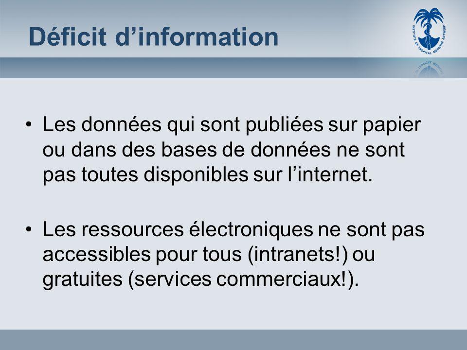 Déficit dinformation Les données qui sont publiées sur papier ou dans des bases de données ne sont pas toutes disponibles sur linternet. Les ressource