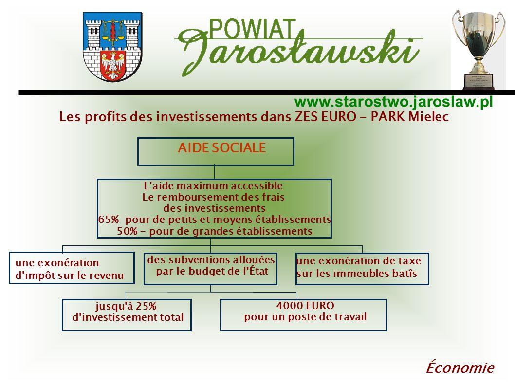 www.starostwo.jaroslaw.pl Économie AIDE SOCIALE L'aide maximum accessible Le remboursement des frais des investissements 65% pour de petits et moyens