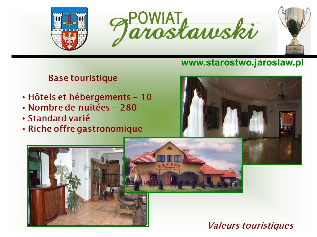 www.starostwo.jaroslaw.pl Valeurs touristiques Hôtels et hébergements - 10 Nombre de nuitées - 280 Standard varié Riche offre gastronomique Base touri