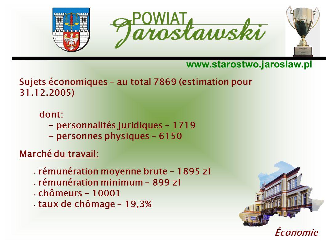 www.starostwo.jaroslaw.pl Économie Sujets économiques – au total 7869 (estimation pour 31.12.2005) dont: - personnalités juridiques – 1719 - personnes