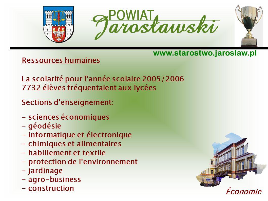 www.starostwo.jaroslaw.pl Économie Ressources humaines La scolarité pour l'année scolaire 2005/2006 7732 élèves fréquentaient aux lycées Sections d'en