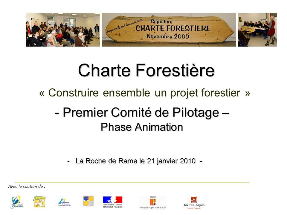 - Premier Comité de Pilotage – Phase Animation « Construire ensemble un projet forestier » Charte Forestière - La Roche de Rame le 21 janvier 2010 - Avec le soutien de :