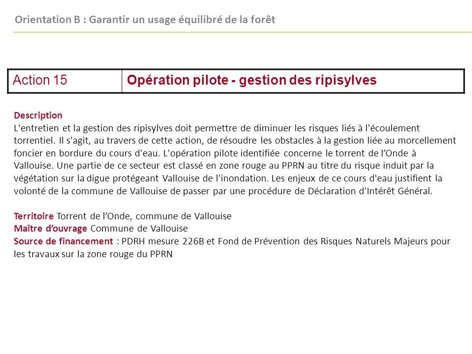 Action 15Opération pilote - gestion des ripisylves Description L entretien et la gestion des ripisylves doit permettre de diminuer les risques liés à l écoulement torrentiel.