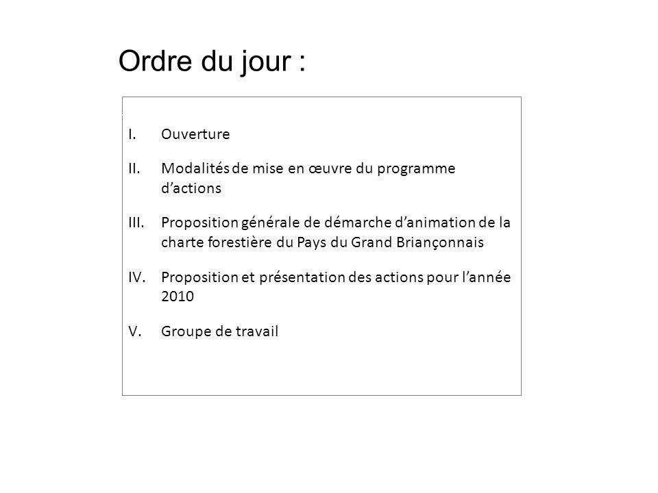I.Ouverture II.Modalités de mise en œuvre du programme dactions III.Proposition générale de démarche danimation de la charte forestière du Pays du Grand Briançonnais IV.Proposition et présentation des actions pour lannée 2010 V.Groupe de travail Ordre du jour :