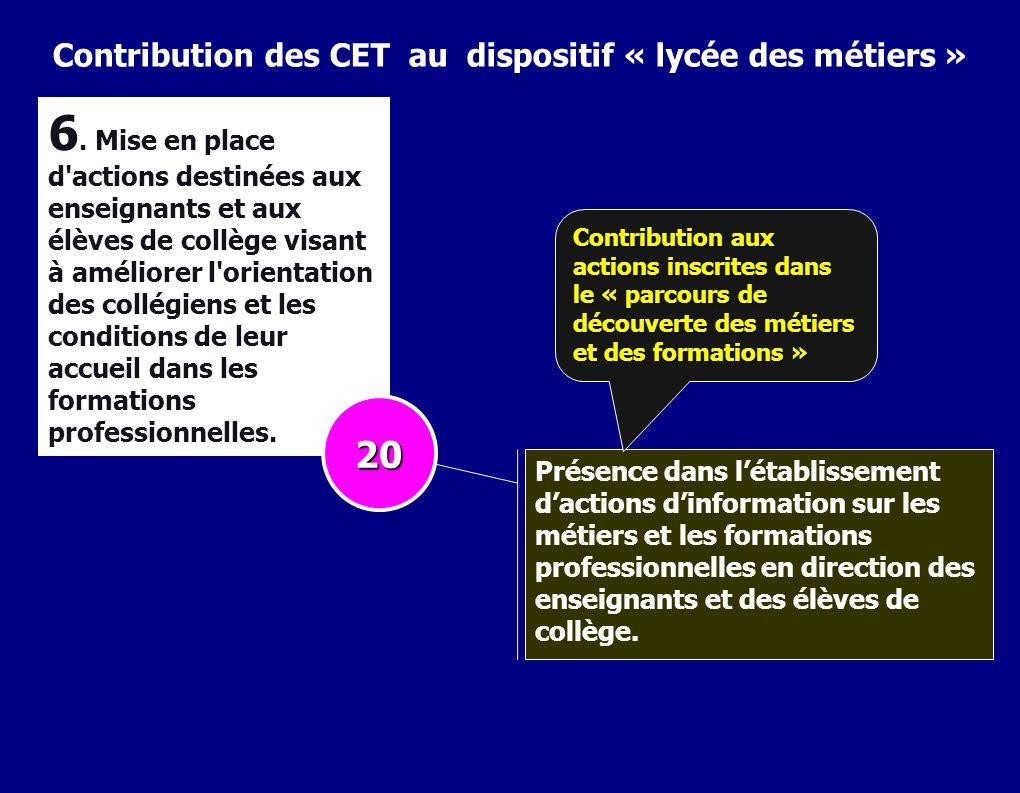 Contribution des CET au dispositif « lycée des métiers » 6. Mise en place d'actions destinées aux enseignants et aux élèves de collège visant à amélio