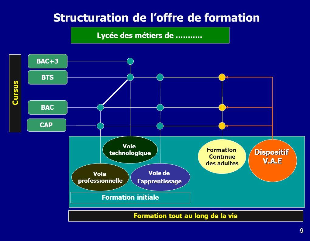 9 Voie de lapprentissage Voie technologique Voie professionnelle BTS BAC+3 CAP BAC Formation Continue des adultes DispositifV.A.E Formation initiale F