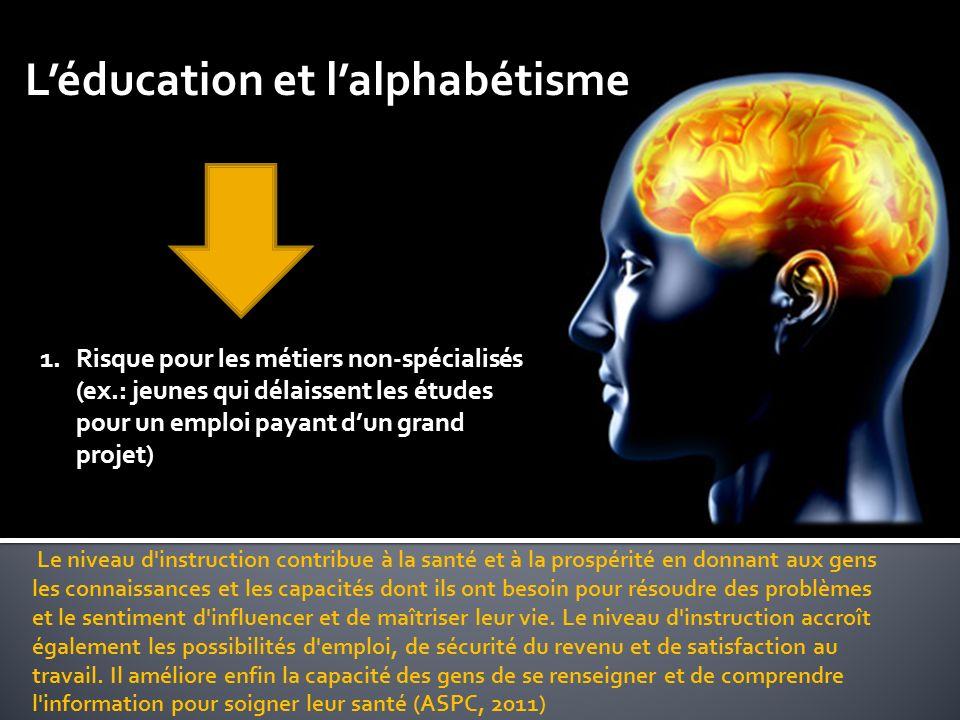 Léducation et lalphabétisme Le niveau d instruction contribue à la santé et à la prospérité en donnant aux gens les connaissances et les capacités dont ils ont besoin pour résoudre des problèmes et le sentiment d influencer et de maîtriser leur vie.