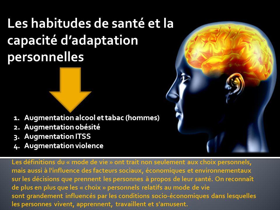 Les habitudes de santé et la capacité dadaptation personnelles Les définitions du « mode de vie » ont trait non seulement aux choix personnels, mais aussi à l influence des facteurs sociaux, économiques et environnementaux sur les décisions que prennent les personnes à propos de leur santé.