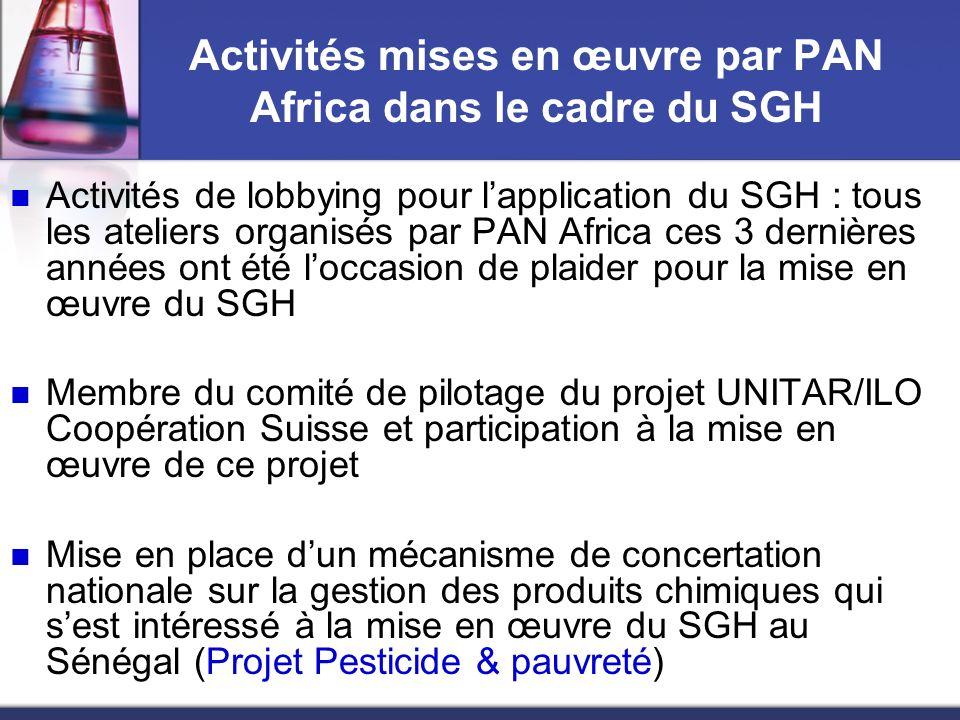 Potentielles activités futures de PAN pour la promotion du SGH Renforcement des capacités des ONGs de la région sur le SGH ( Hub pour lAfrique francophone de lIPEN, Programme sous-régional de renforcement des capacités et de coordination des activités des ONGs dans le domaine de la sécurité chimique ).