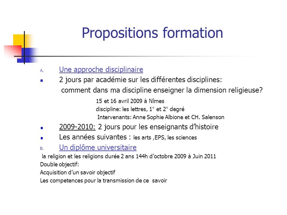 Propositions formation A.