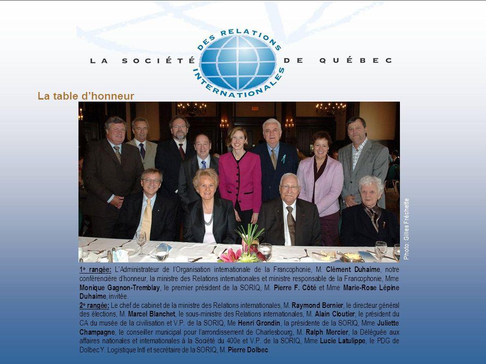La table dhonneur Photo: Gilles Fréchette 1 e rangée: LAdministrateur de lOrganisation internationale de la Francophonie, M. Clément Duhaime, notre co