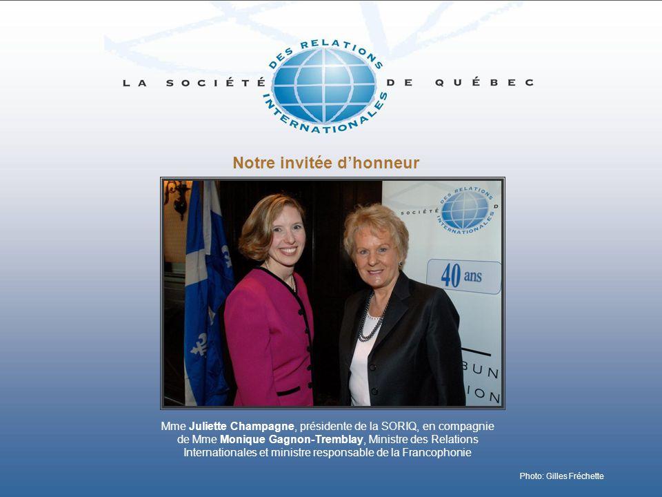 Notre invitée dhonneur Mme Juliette Champagne, présidente de la SORIQ, en compagnie de Mme Monique Gagnon-Tremblay, Ministre des Relations Internation