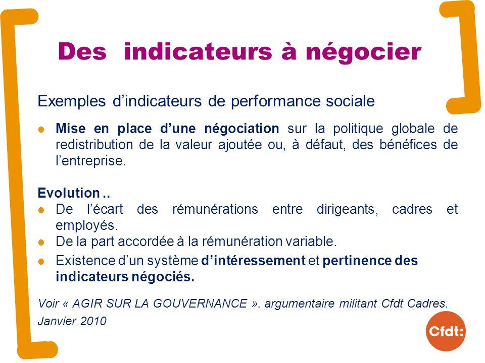 Des indicateurs à négocier Exemples dindicateurs de performance sociale Mise en place dune négociation sur la politique globale de redistribution de la valeur ajoutée ou, à défaut, des bénéfices de lentreprise.