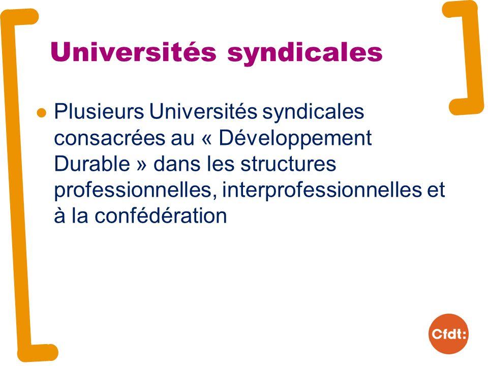 Universités syndicales Plusieurs Universités syndicales consacrées au « Développement Durable » dans les structures professionnelles, interprofessionnelles et à la confédération