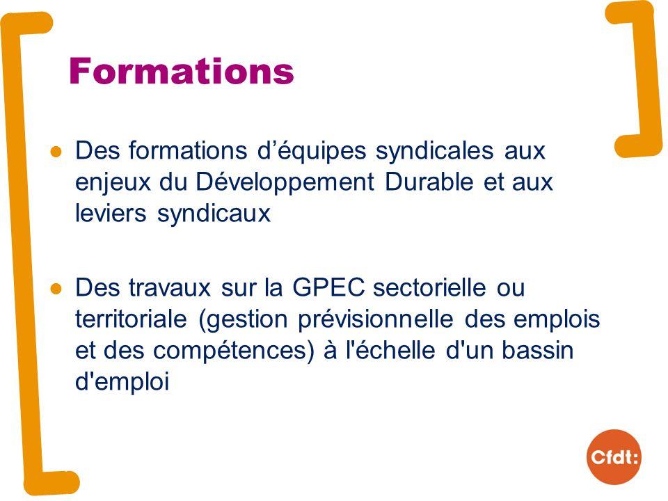 Formations Des formations déquipes syndicales aux enjeux du Développement Durable et aux leviers syndicaux Des travaux sur la GPEC sectorielle ou territoriale (gestion prévisionnelle des emplois et des compétences) à l échelle d un bassin d emploi