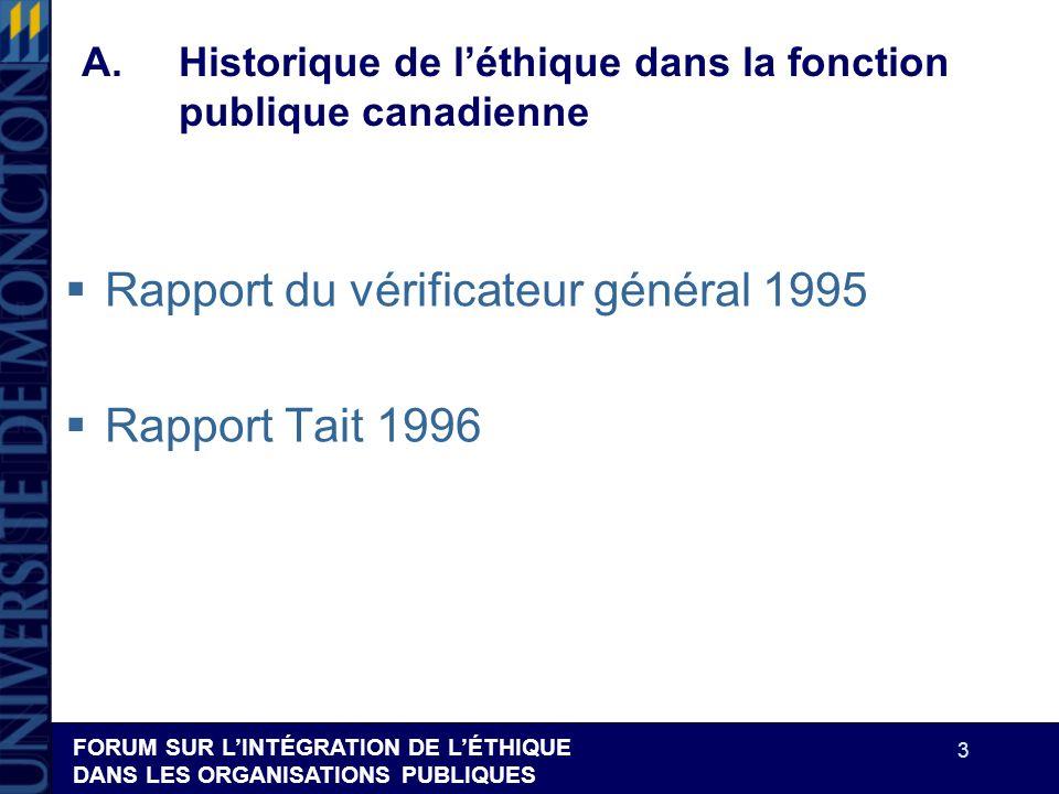 FORUM SUR LINTÉGRATION DE LÉTHIQUE DANS LES ORGANISATIONS PUBLIQUES 3 A.Historique de léthique dans la fonction publique canadienne Rapport du vérific