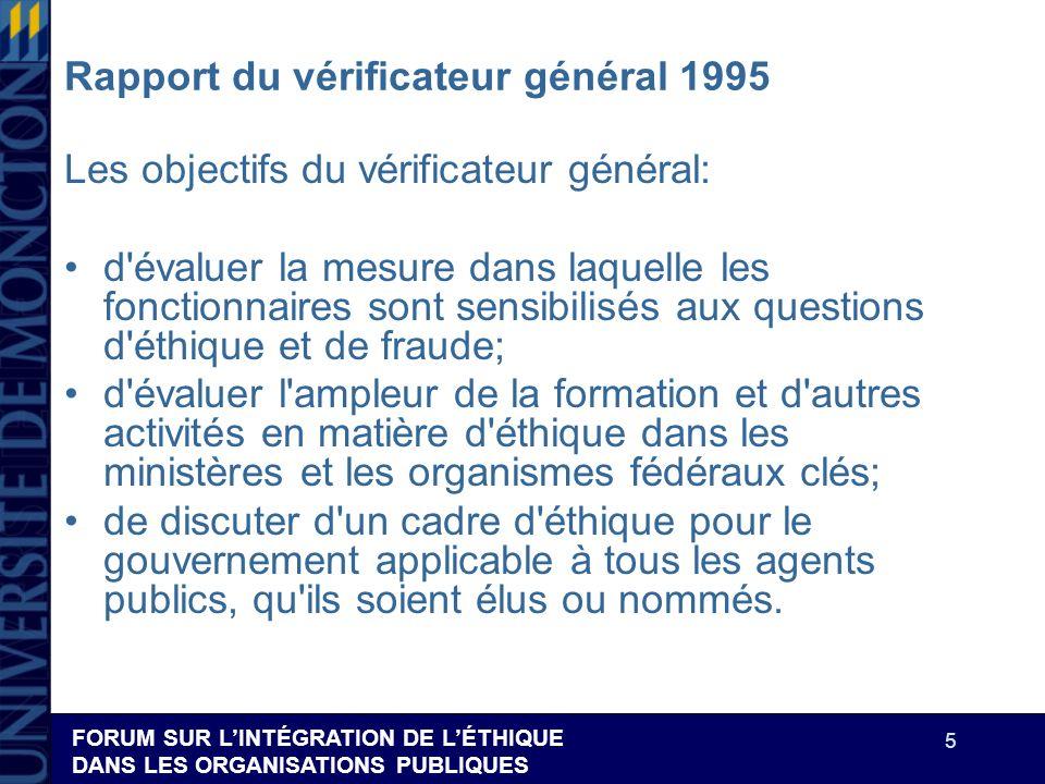 FORUM SUR LINTÉGRATION DE LÉTHIQUE DANS LES ORGANISATIONS PUBLIQUES 5 Rapport du vérificateur général 1995 Les objectifs du vérificateur général: d'év