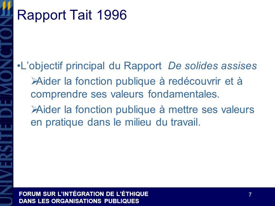 FORUM SUR LINTÉGRATION DE LÉTHIQUE DANS LES ORGANISATIONS PUBLIQUES 7 Rapport Tait 1996 Lobjectif principal du Rapport De solides assises Aider la fon