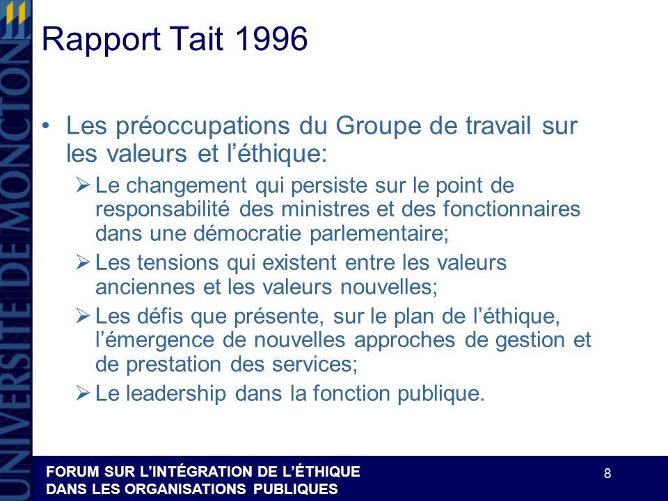 FORUM SUR LINTÉGRATION DE LÉTHIQUE DANS LES ORGANISATIONS PUBLIQUES 8 Rapport Tait 1996 Les préoccupations du Groupe de travail sur les valeurs et lét