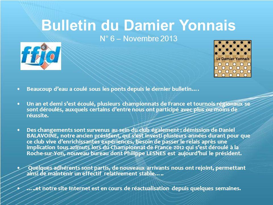 Powerpoint Templates Page 1 Powerpoint Templates Bulletin du Damier Yonnais N° 6 – Novembre 2013 Beaucoup deau a coulé sous les ponts depuis le dernier bulletin….