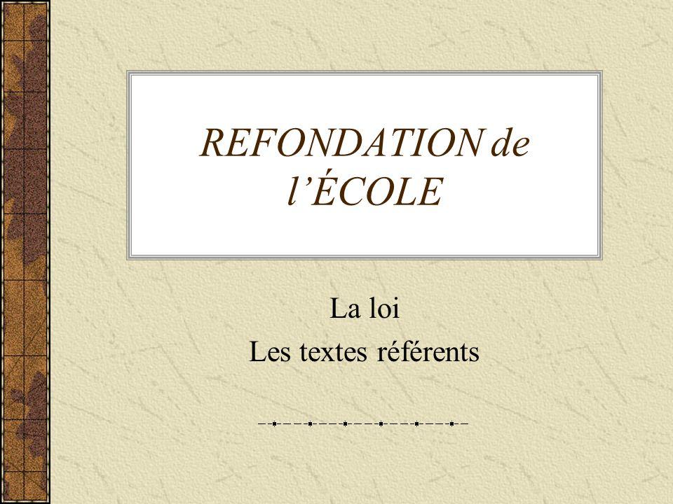 REFONDATION de lÉCOLE La loi Les textes référents