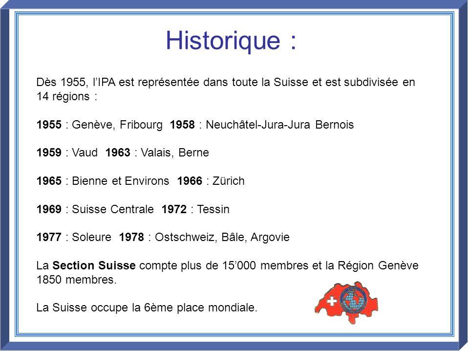Dès 1955, lIPA est représentée dans toute la Suisse et est subdivisée en 14 régions : 1955 : Genève, Fribourg 1958 : Neuchâtel-Jura-Jura Bernois 1959