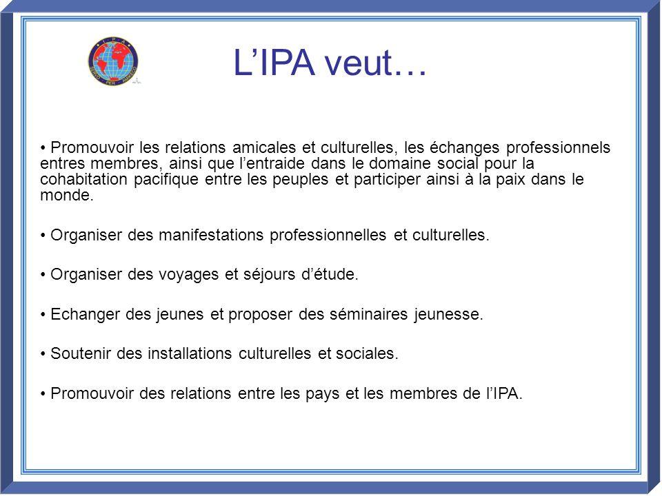 LIPA veut… Promouvoir les relations amicales et culturelles, les échanges professionnels entres membres, ainsi que lentraide dans le domaine social po