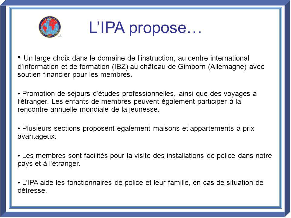 LIPA propose… Un large choix dans le domaine de linstruction, au centre international dinformation et de formation (IBZ) au château de Gimborn (Allema