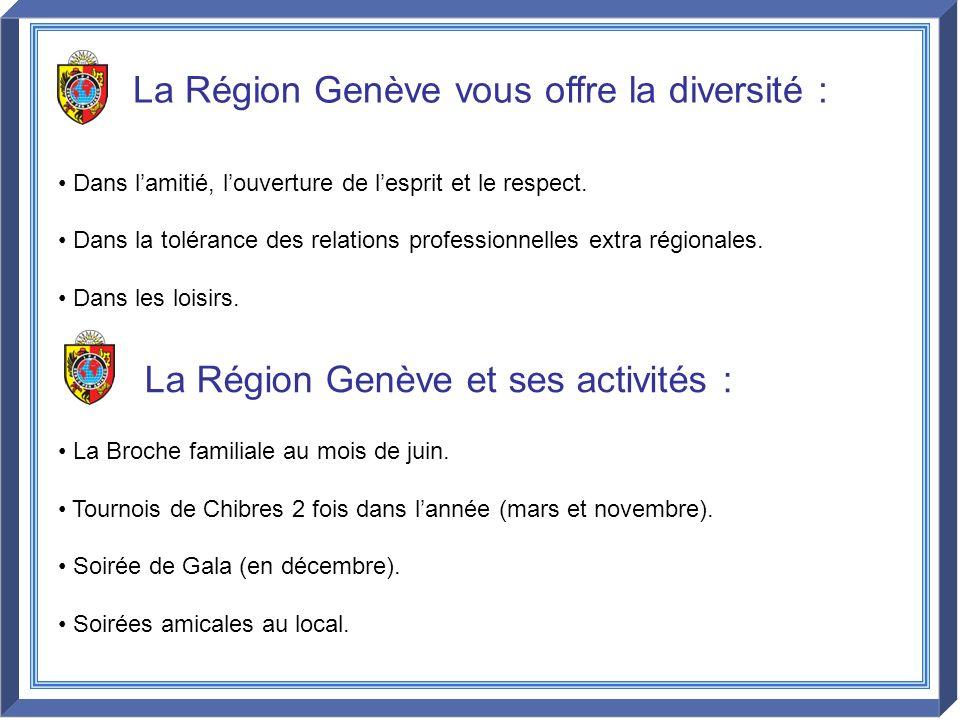 La Région Genève vous offre la diversité : Dans lamitié, louverture de lesprit et le respect. Dans la tolérance des relations professionnelles extra r