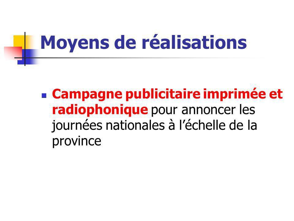 Moyens de réalisations Campagne publicitaire imprimée et radiophonique pour annoncer les journées nationales à léchelle de la province
