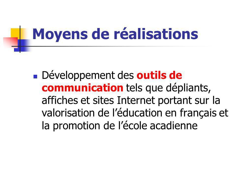 Moyens de réalisations Développement des outils de communication tels que dépliants, affiches et sites Internet portant sur la valorisation de léducation en français et la promotion de lécole acadienne