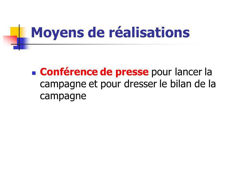 Moyens de réalisations Conférence de presse pour lancer la campagne et pour dresser le bilan de la campagne