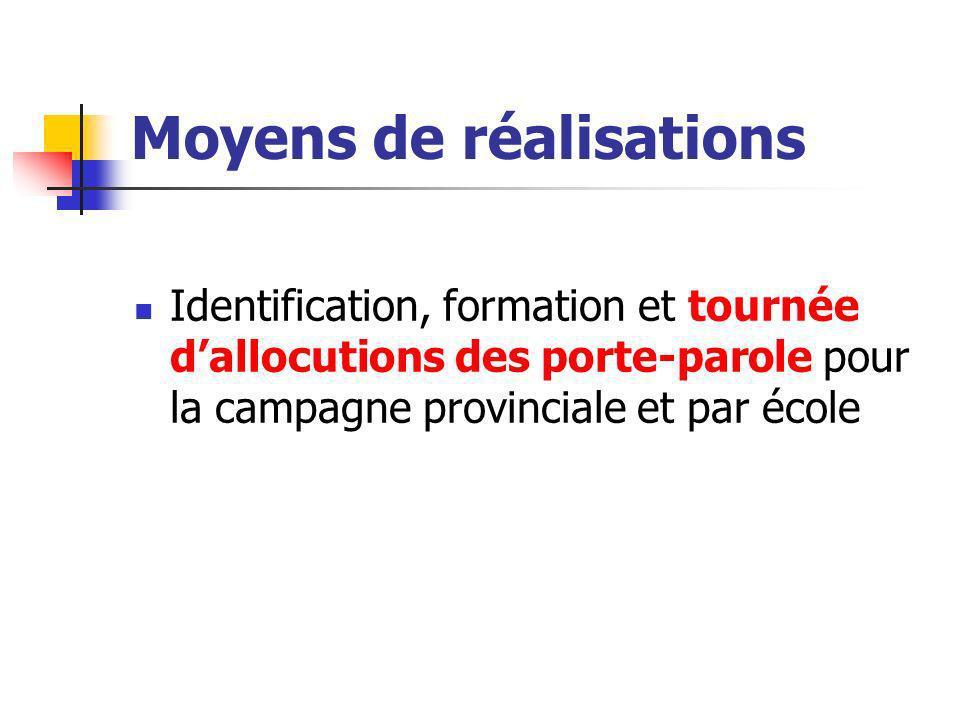 Moyens de réalisations Identification, formation et tournée dallocutions des porte-parole pour la campagne provinciale et par école