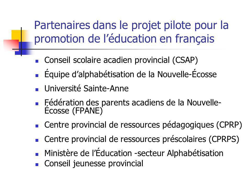 Partenaires dans le projet pilote pour la promotion de léducation en français Conseil scolaire acadien provincial (CSAP) Équipe dalphabétisation de la