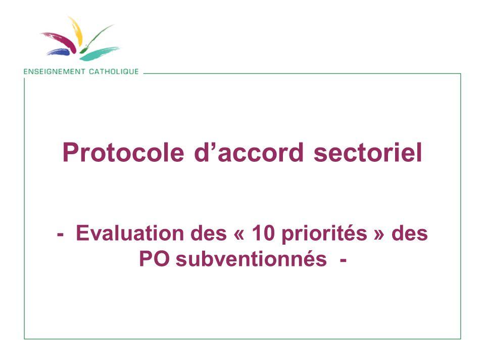 Protocole daccord sectoriel - Evaluation des « 10 priorités » des PO subventionnés -