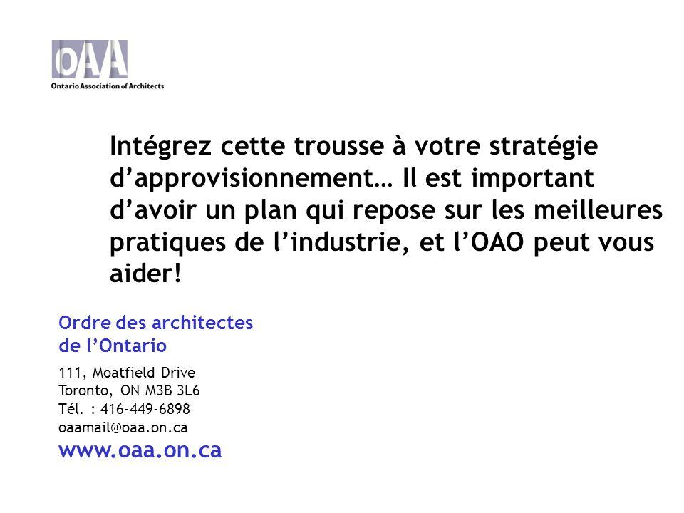 Ordre des architectes de lOntario 111, Moatfield Drive Toronto, ON M3B 3L6 Tél.