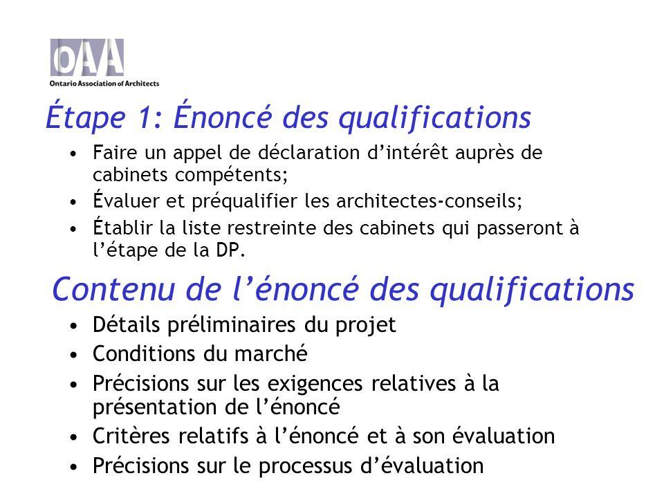 Étape 2 : Demande de propositions (DP) Il sagit dun document dappel doffres de services dexperts-conseils en architecture.