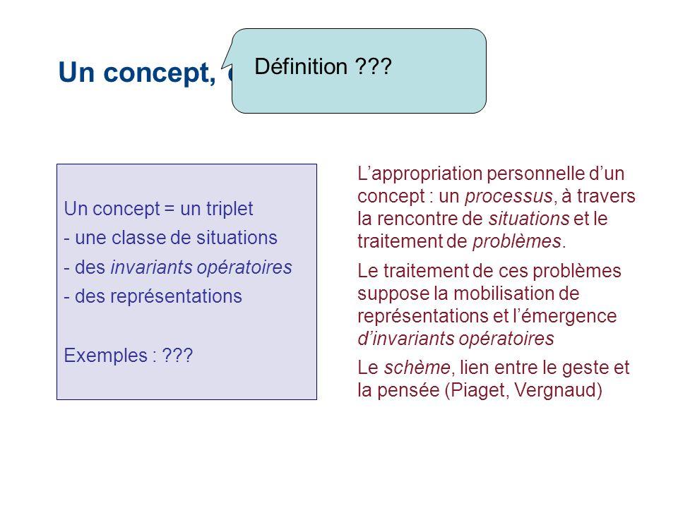 Un concept, défini par un triplet Un concept = un triplet - une classe de situations - des invariants opératoires - des représentations Exemples : ??.