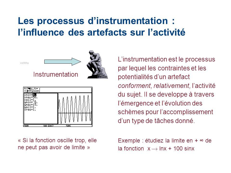 Les processus dinstrumentation : linfluence des artefacts sur lactivité Instrumentation Linstrumentation est le processus par lequel les contraintes et les potentialités dun artefact conforment, relativement, lactivité du sujet.