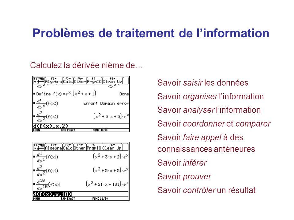 Problèmes de traitement de linformation Savoir saisir les données Savoir organiser linformation Savoir analyser linformation Savoir coordonner et comparer Savoir faire appel à des connaissances antérieures Savoir inférer Savoir prouver Savoir contrôler un résultat Calculez la dérivée nième de…