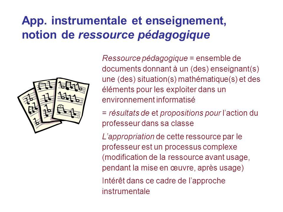App. instrumentale et enseignement, notion de ressource pédagogique Ressource pédagogique = ensemble de documents donnant à un (des) enseignant(s) une