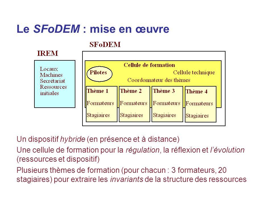 Le SFoDEM : mise en œuvre Un dispositif hybride (en présence et à distance) Une cellule de formation pour la régulation, la réflexion et lévolution (ressources et dispositif) Plusieurs thèmes de formation (pour chacun : 3 formateurs, 20 stagiaires) pour extraire les invariants de la structure des ressources