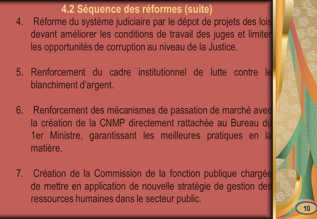 4. Réforme du système judiciaire par le dépot de projets des lois devant améliorer les conditions de travail des juges et limiter les opportunités de