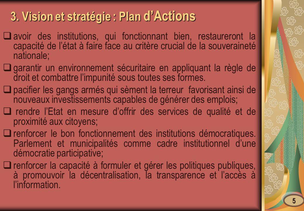 3. Vision et stratégie : Plan dActions avoir des institutions, qui fonctionnant bien, restaureront la capacité de létat à faire face au critère crucia