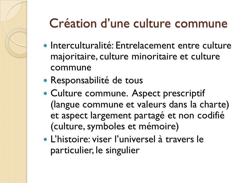 Création dune culture commune Interculturalité: Entrelacement entre culture majoritaire, culture minoritaire et culture commune Responsabilité de tous