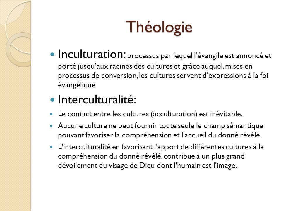 Théologie Inculturation: processus par lequel lévangile est annoncé et porté jusquaux racines des cultures et grâce auquel, mises en processus de conv