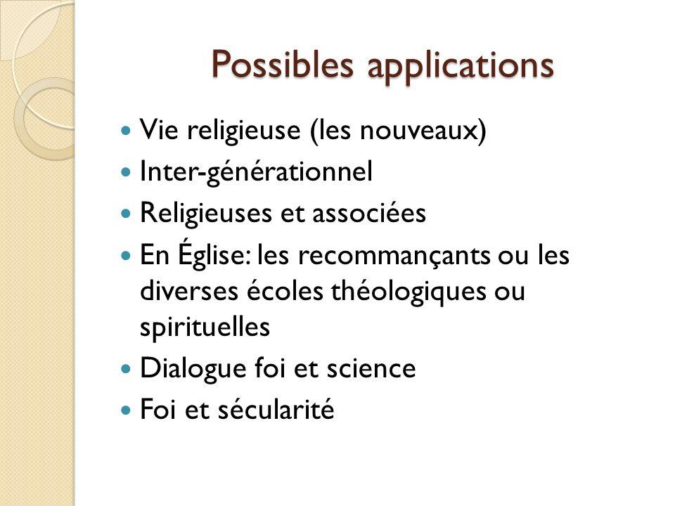 Possibles applications Vie religieuse (les nouveaux) Inter-générationnel Religieuses et associées En Église: les recommançants ou les diverses écoles