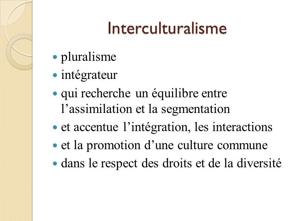 Trois modèles Multiculturalisme: modèle de type anglais qui vise la juxtaposition des cultures Assimilationisme: modèle de type français qui vise lassimilation à la culture majoritaire Interculturalisme: modèle qui recherche une culture commune dans le respect dune diversité.
