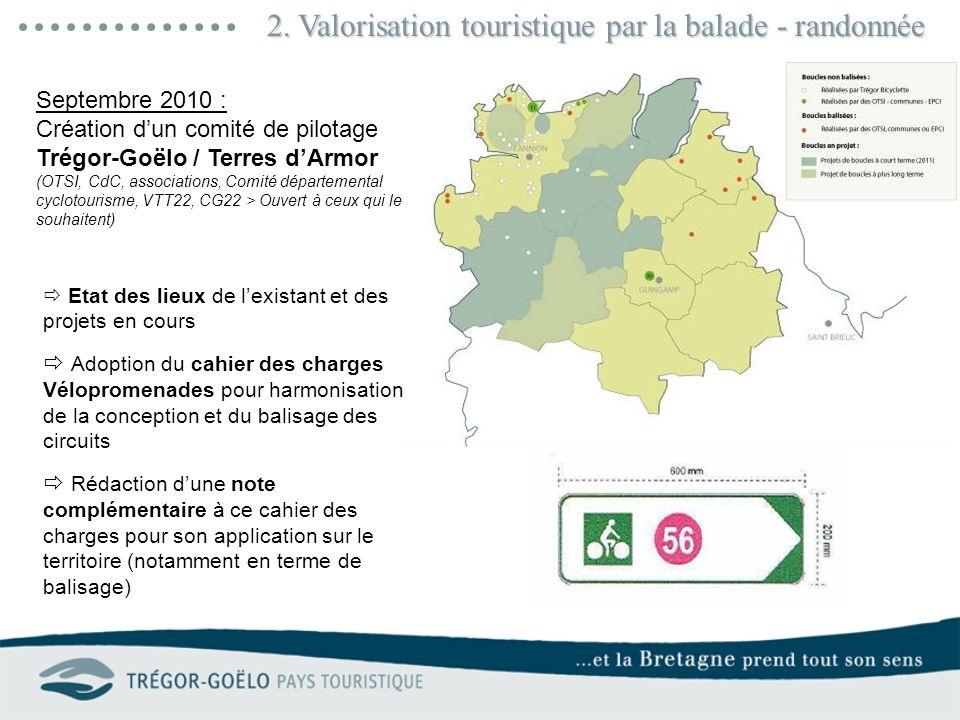 2. Valorisation touristique par la balade - randonnée Septembre 2010 : Création dun comité de pilotage Trégor-Goëlo / Terres dArmor (OTSI, CdC, associ