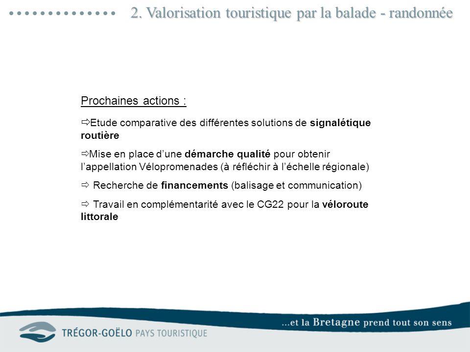 2. Valorisation touristique par la balade - randonnée Prochaines actions : Etude comparative des différentes solutions de signalétique routière Mise e
